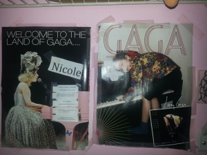 More pictures on my wall lol. Pictures of Lady Gaga **Image by Nicole Oliva** Original images taken from a magazine. Copyright goes to original owners or photographers.
