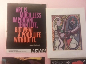 Quote by Robert Motherwell (on the left) Copyright MOMA or Museum of Modern Art. From their Abstract Expressionist New York Exhibit Oct 3,2010 - April 25, 2011; (On the right) Pablo Picasso's